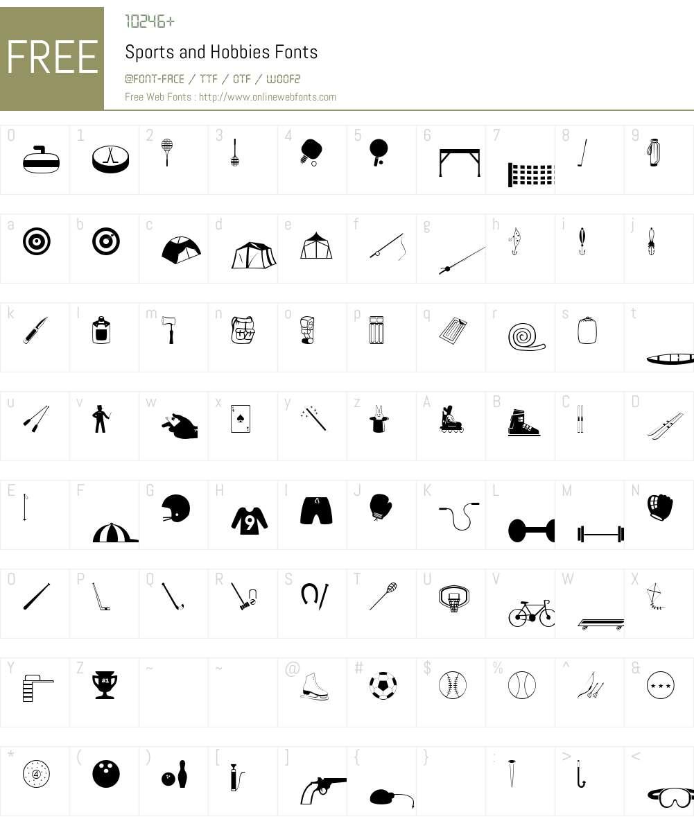 Sports and Hobbies Font Screenshots