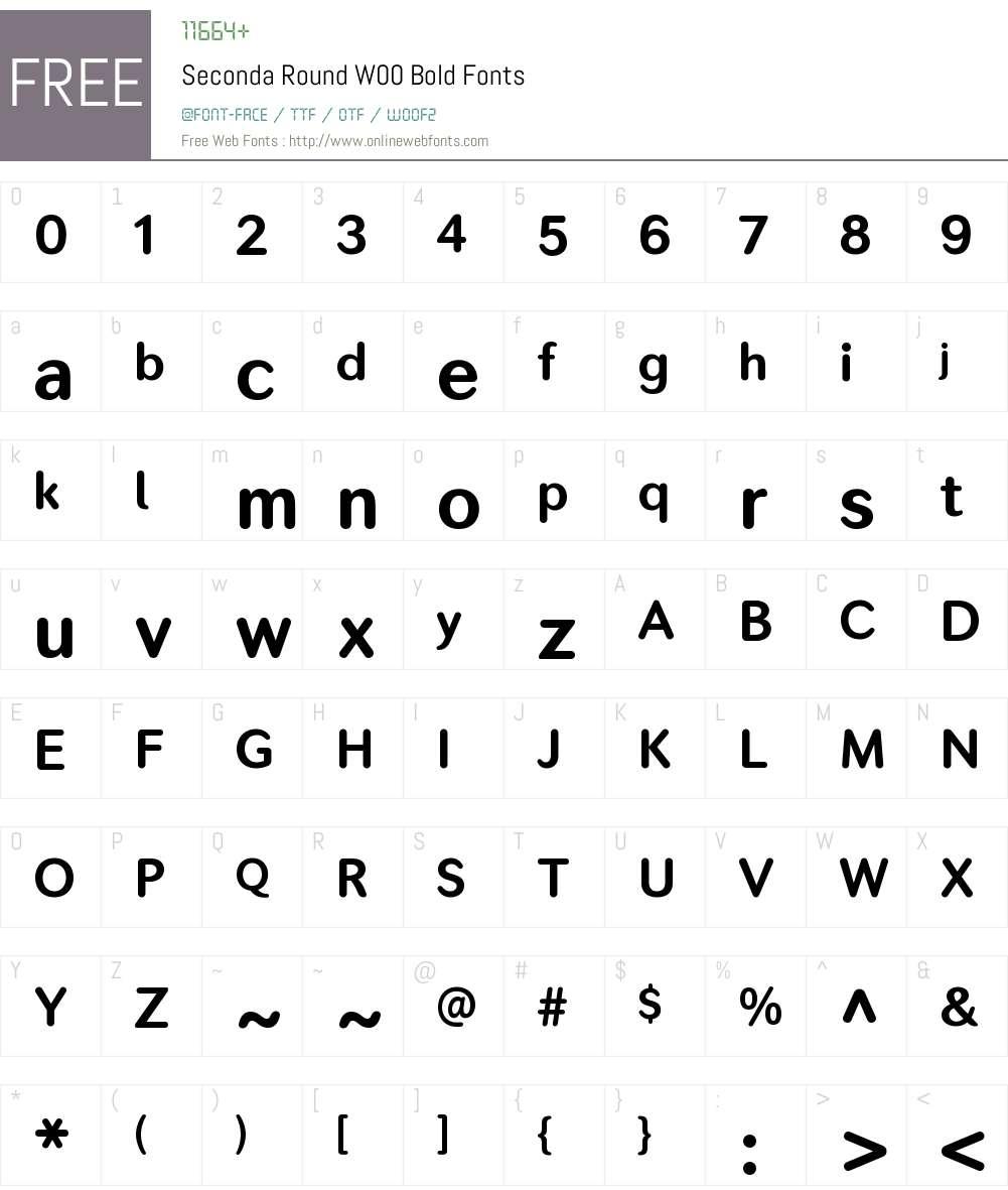SecondaRoundW00-Bold Font Screenshots