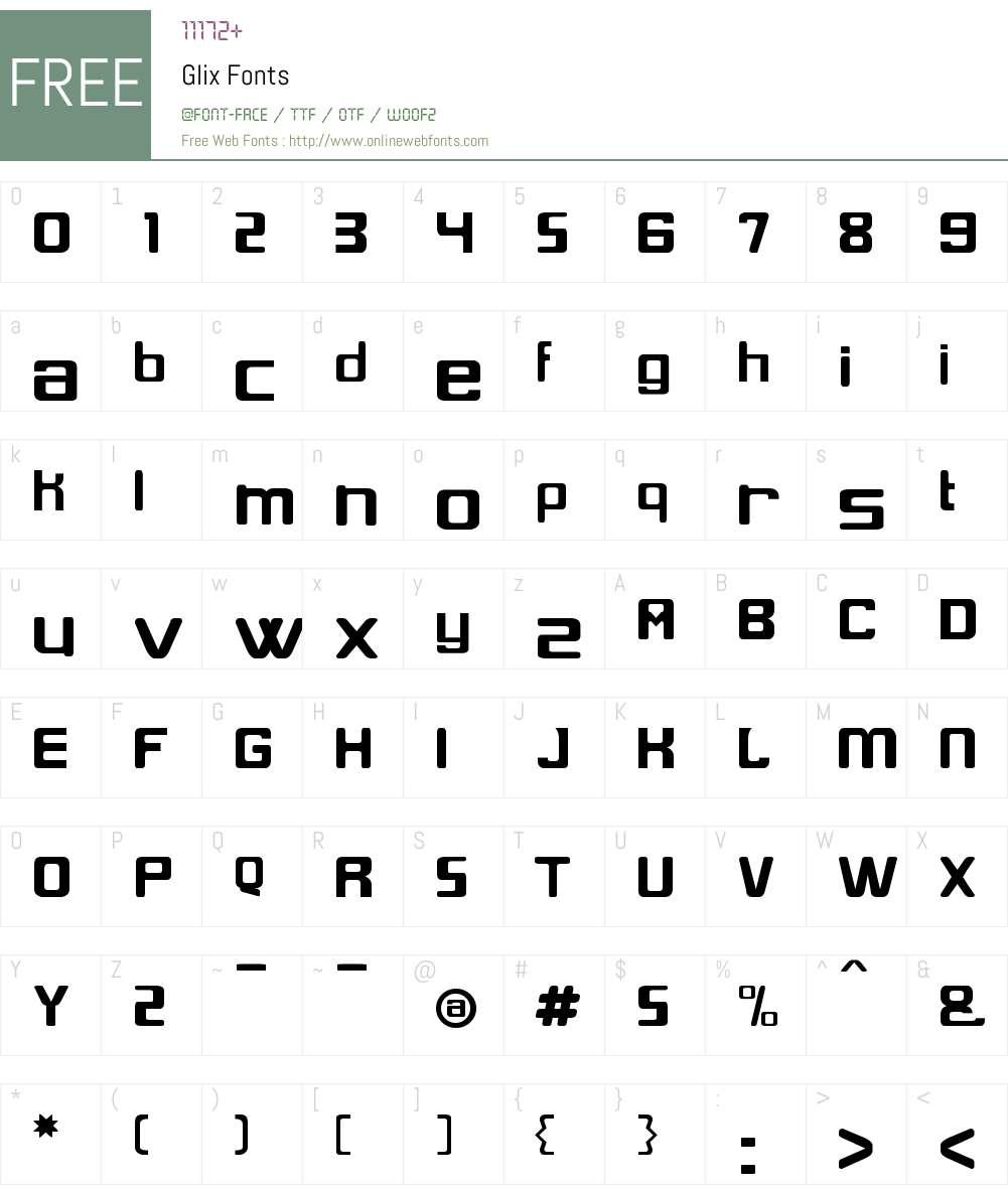 Glix Font Screenshots