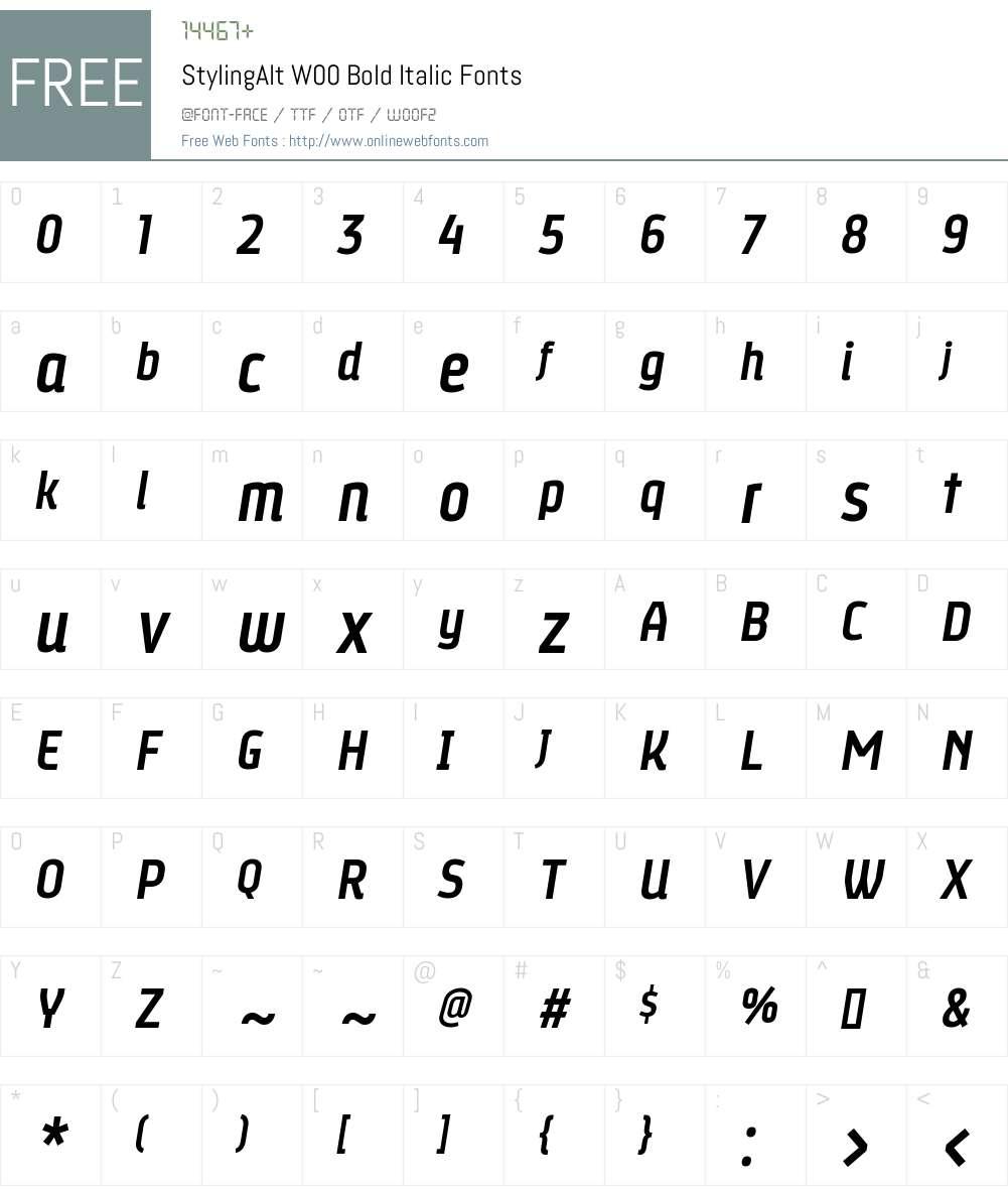 StylingAltW00-BoldItalic Font Screenshots