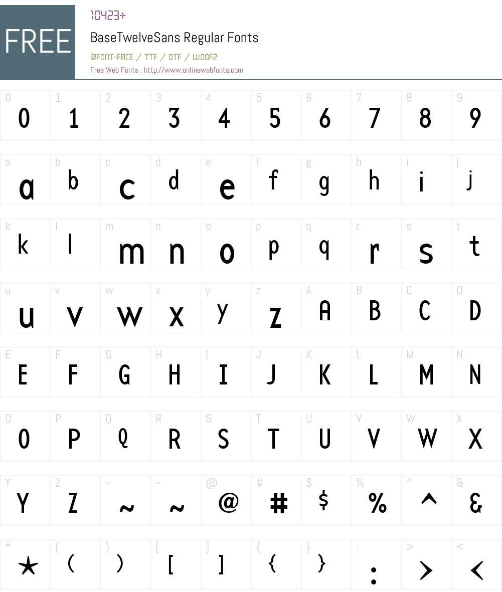 BaseTwelveSans Font Screenshots