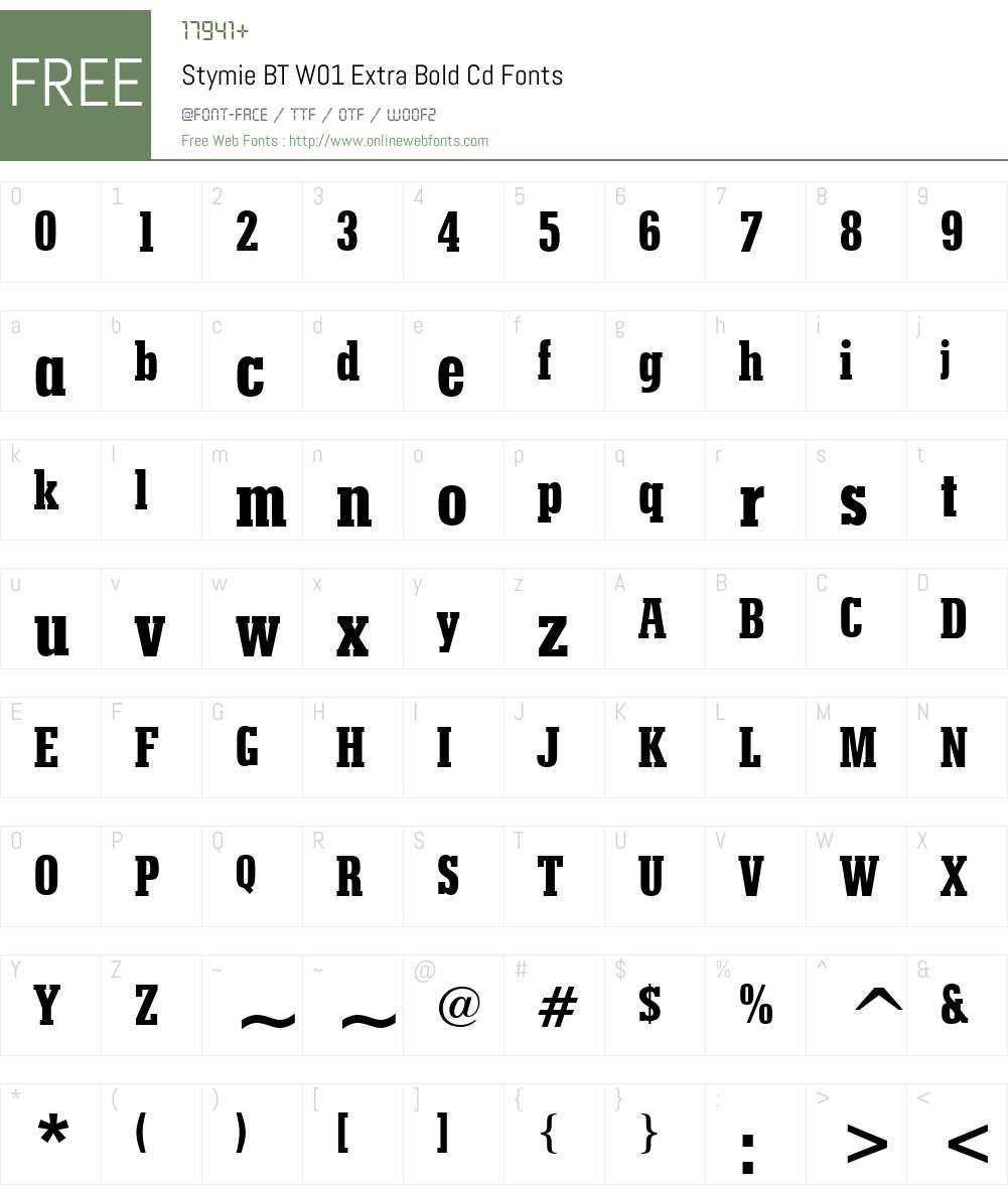 StymieBTW01-ExtraBoldCd Font Screenshots