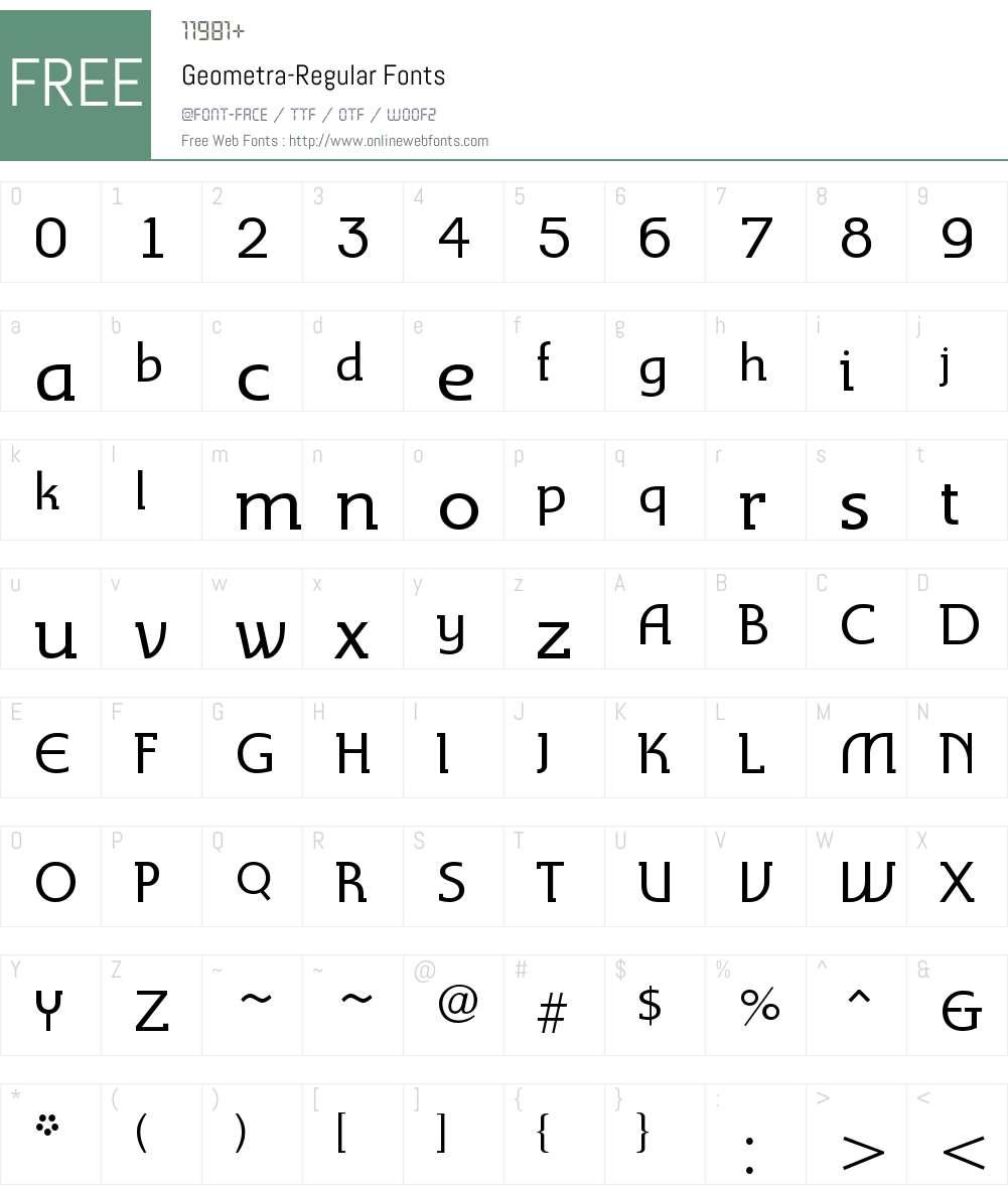 Geometra-Regular Font Screenshots