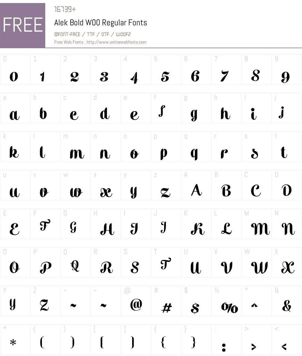 AlekBoldW00-Regular Font Screenshots