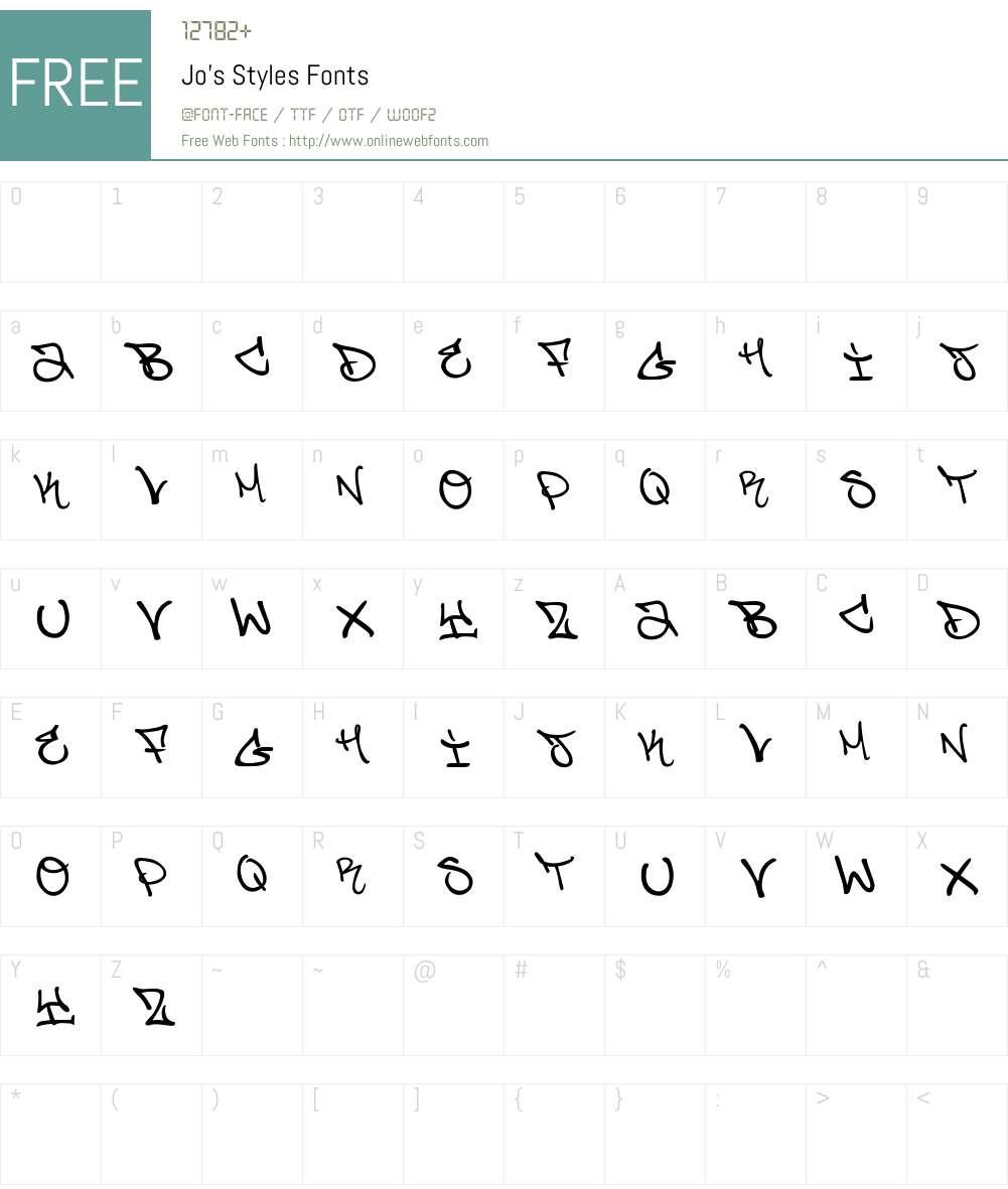 Jo's Styles Font Screenshots