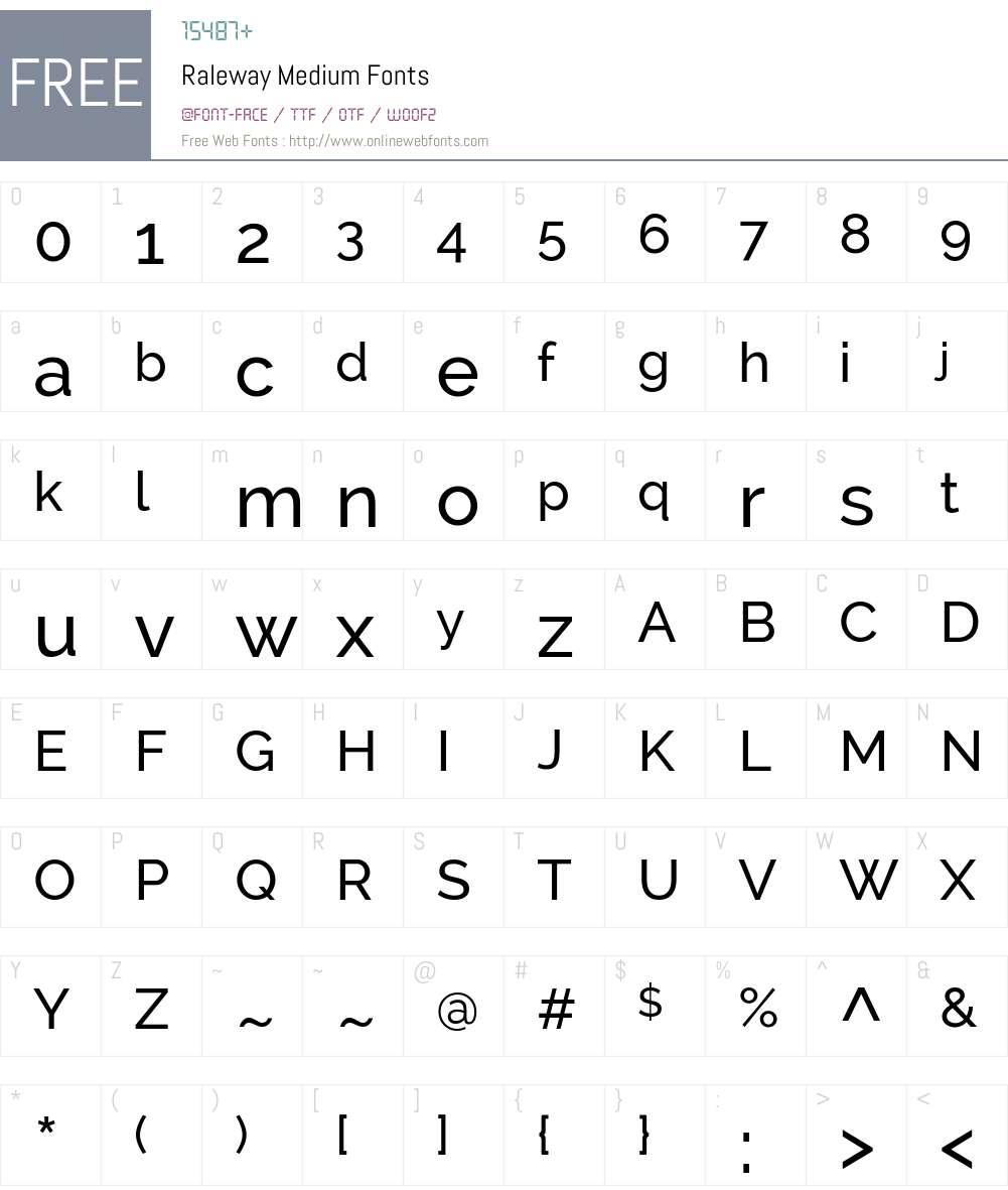 Raleway Font Screenshots