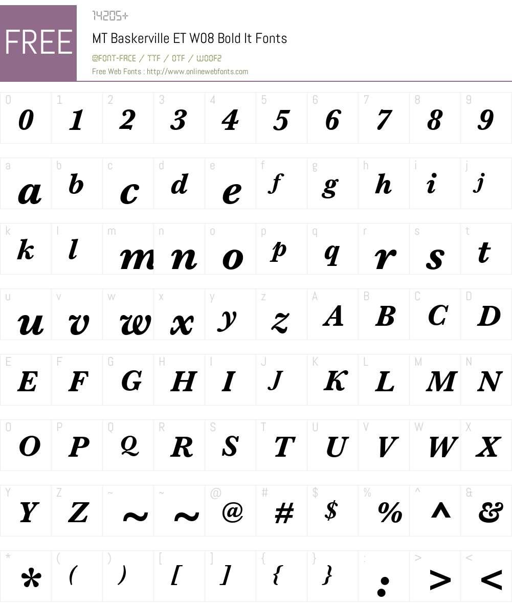 Monotype Baskerville eText Font Screenshots