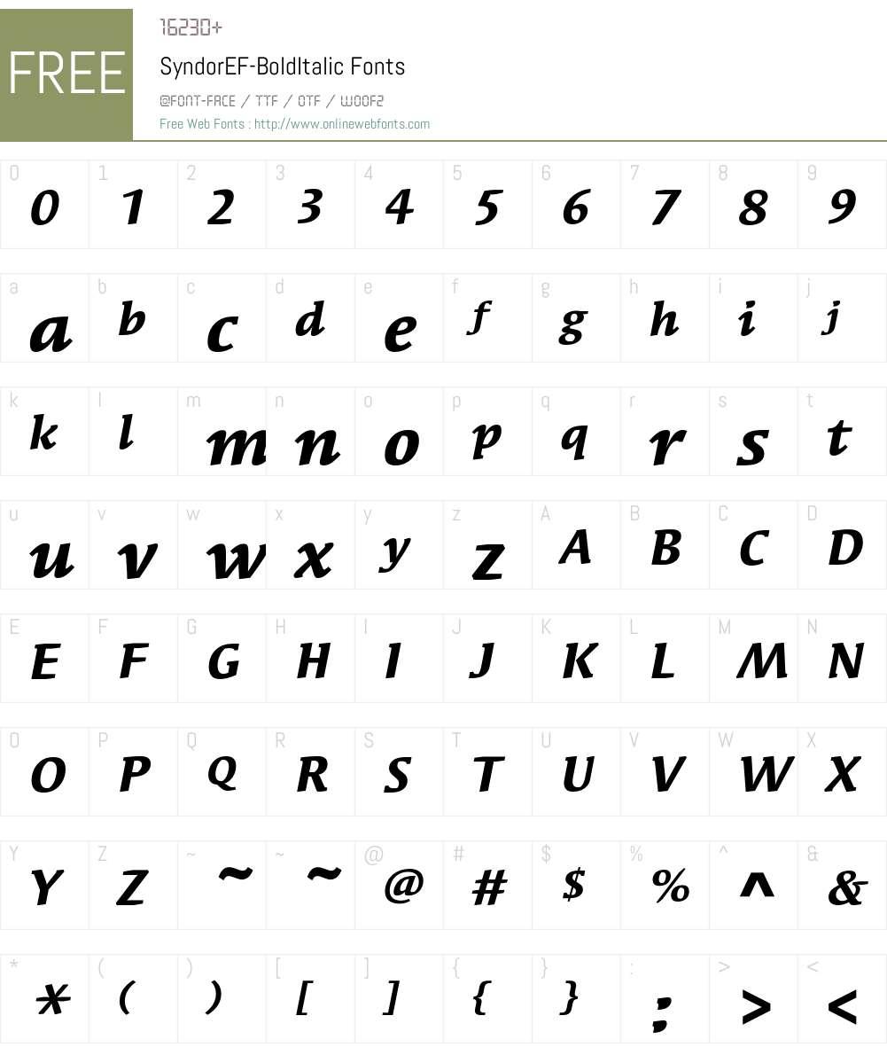 SyndorEF-BoldItalic Font Screenshots
