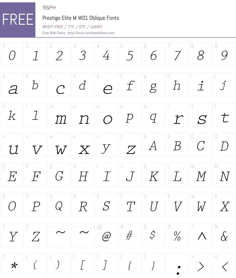 PrestigeEliteMW01-Oblique Font Screenshots
