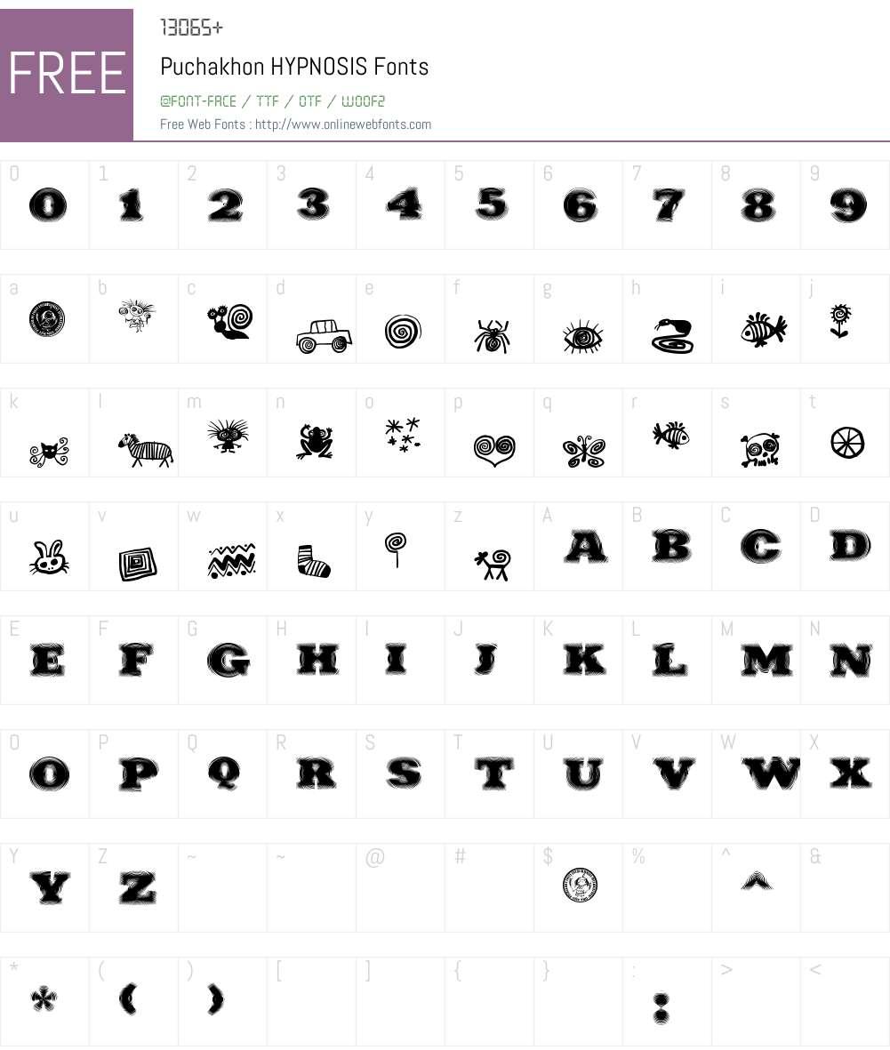 Puchakhon HYPNOSIS Font Screenshots