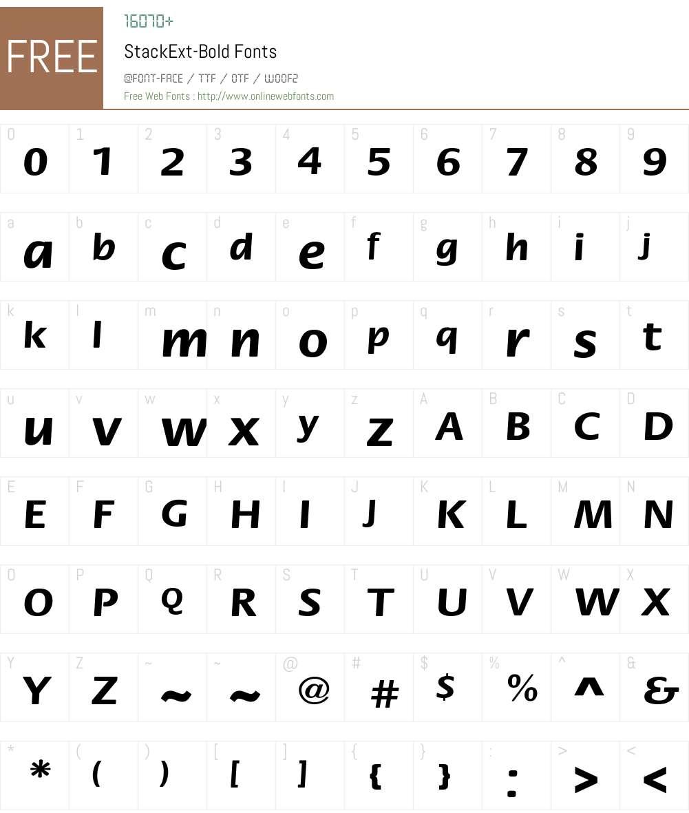 StackExt-Bold Font Screenshots