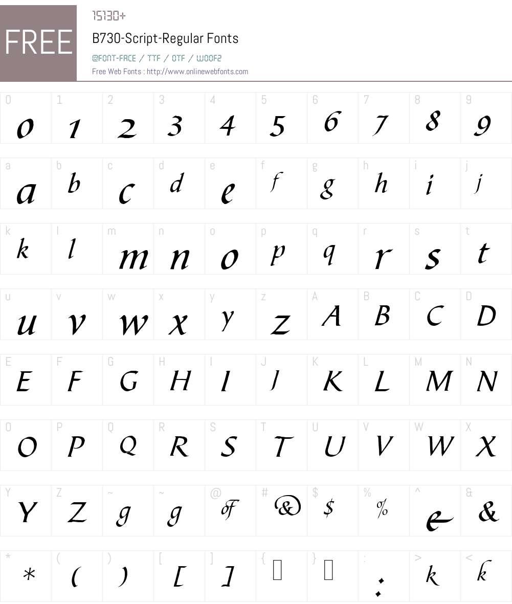 B730-Script Font Screenshots