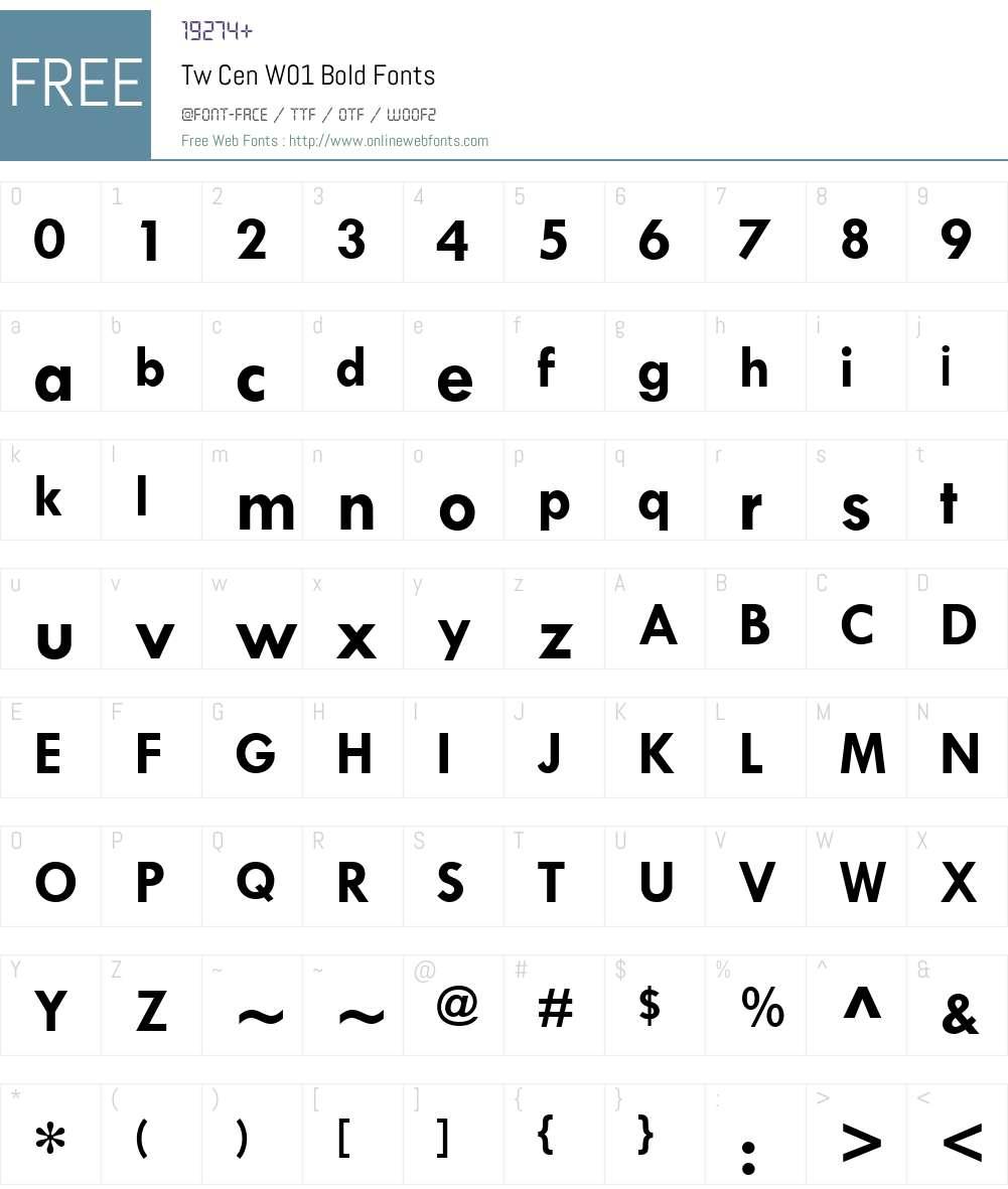 TwCenW01-Bold Font Screenshots