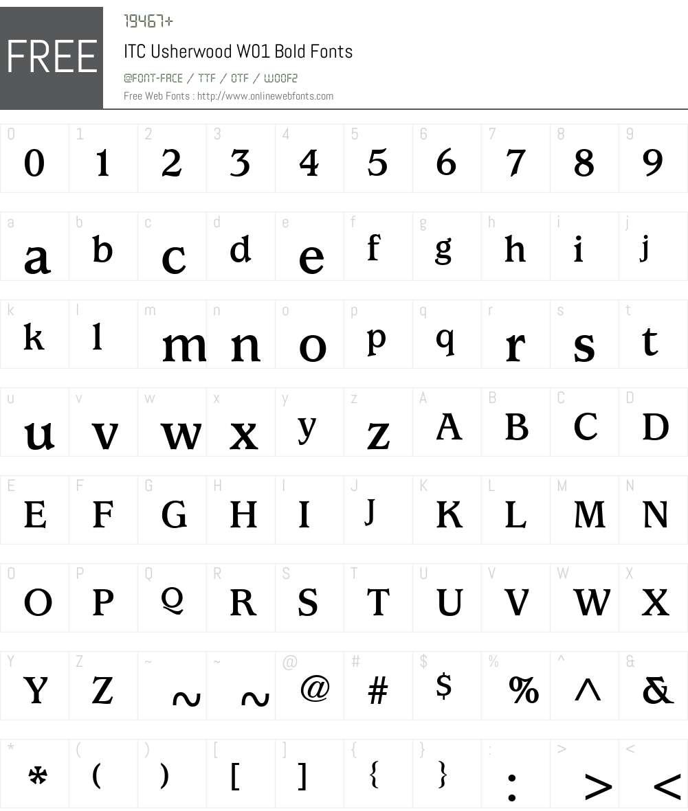 ITCUsherwoodW01-Bold Font Screenshots