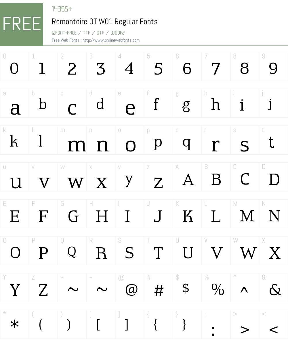 RemontoireOTW01-Regular Font Screenshots