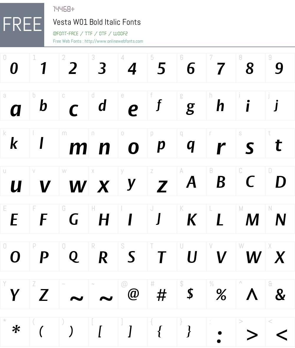 VestaW01-BoldItalic Font Screenshots