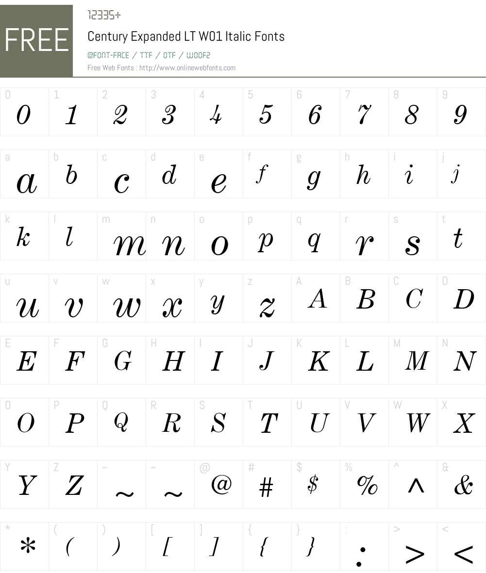 CenturyExpandedLTW01-Italic Font Screenshots