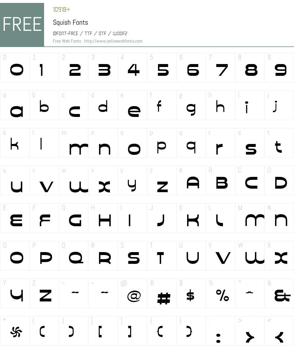 SquishW00-Reg Font Screenshots