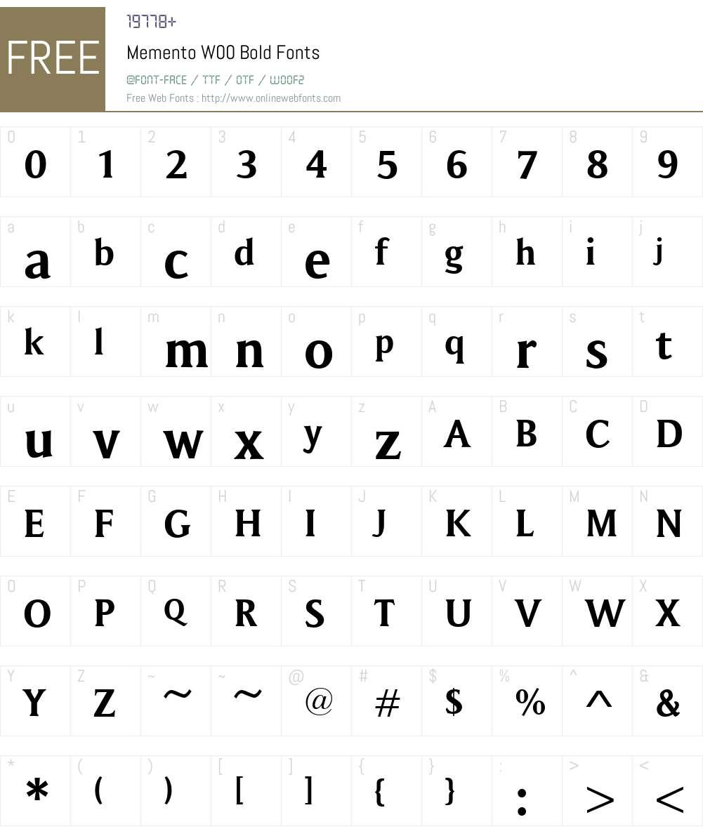 MementoW00-Bold Font Screenshots