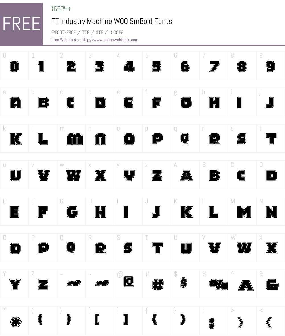 FTIndustryMachineW00-SmBd Font Screenshots