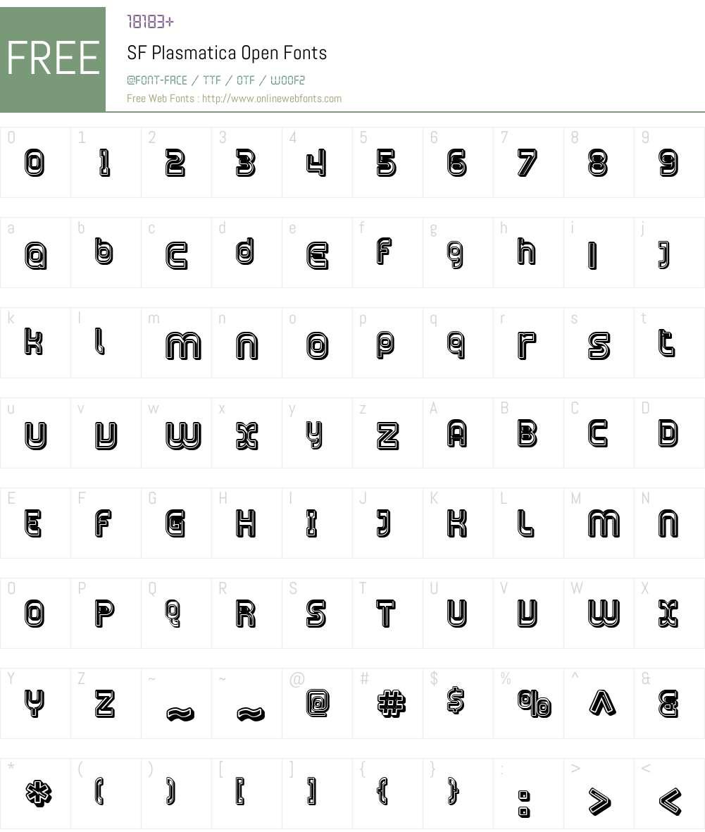 SF Plasmatica Open Font Screenshots