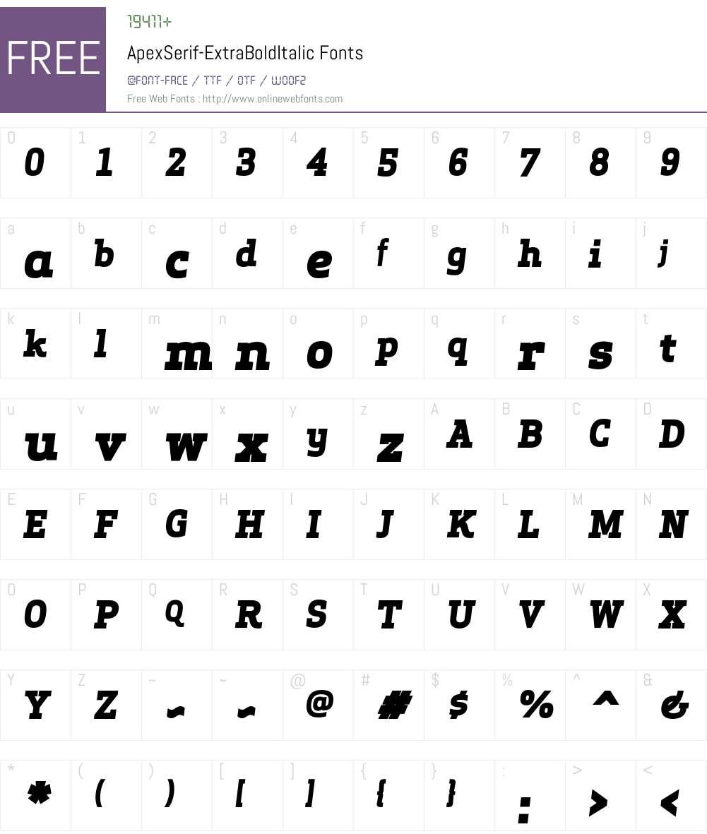 Apex Serif Extra Bold Italic Font Screenshots