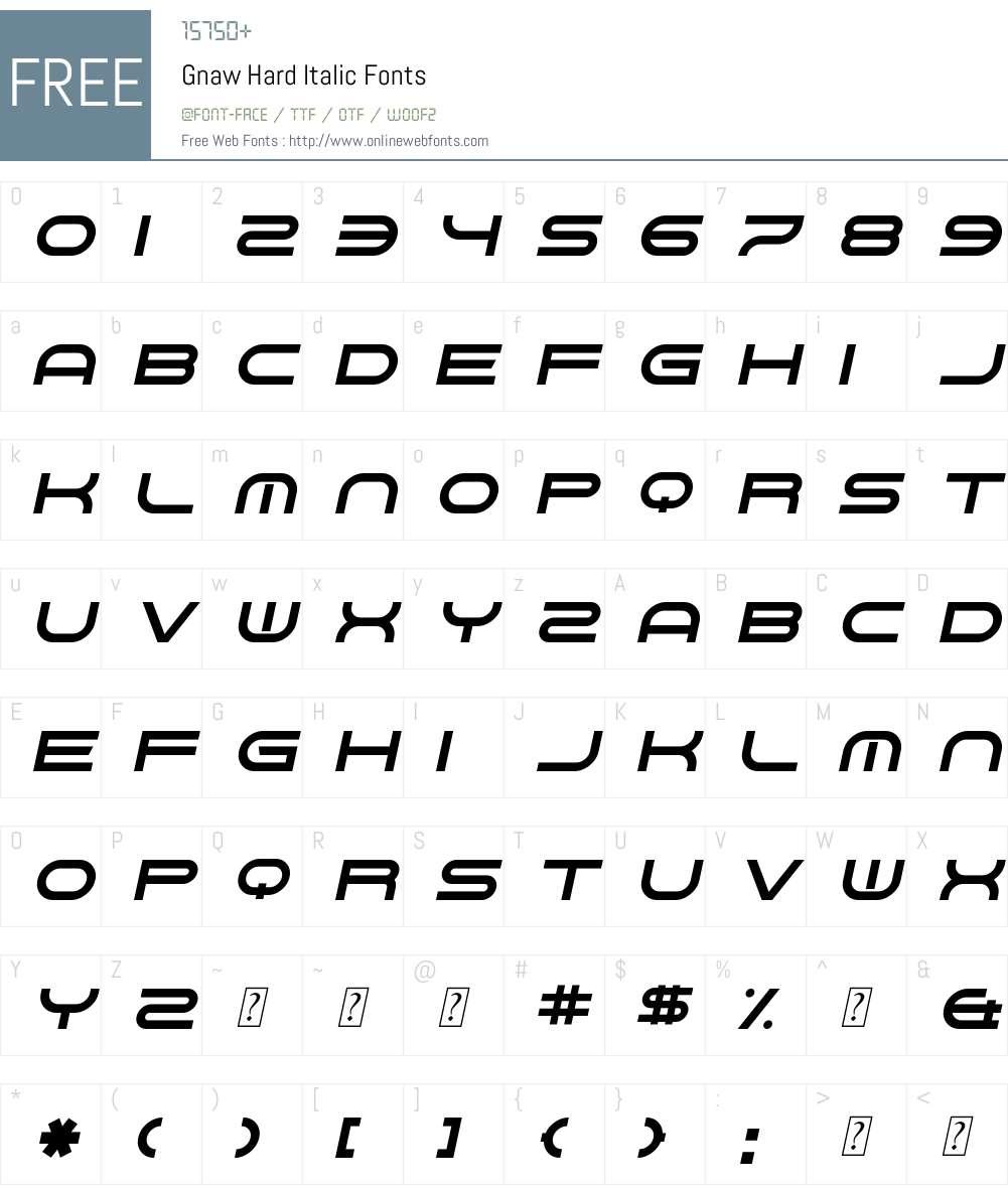 Gnaw Hard Italic Font Screenshots