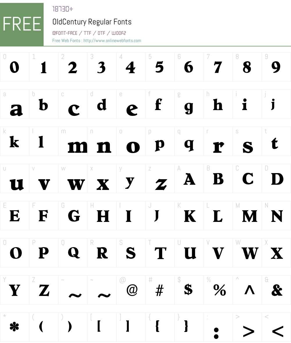 OldCentury Font Screenshots