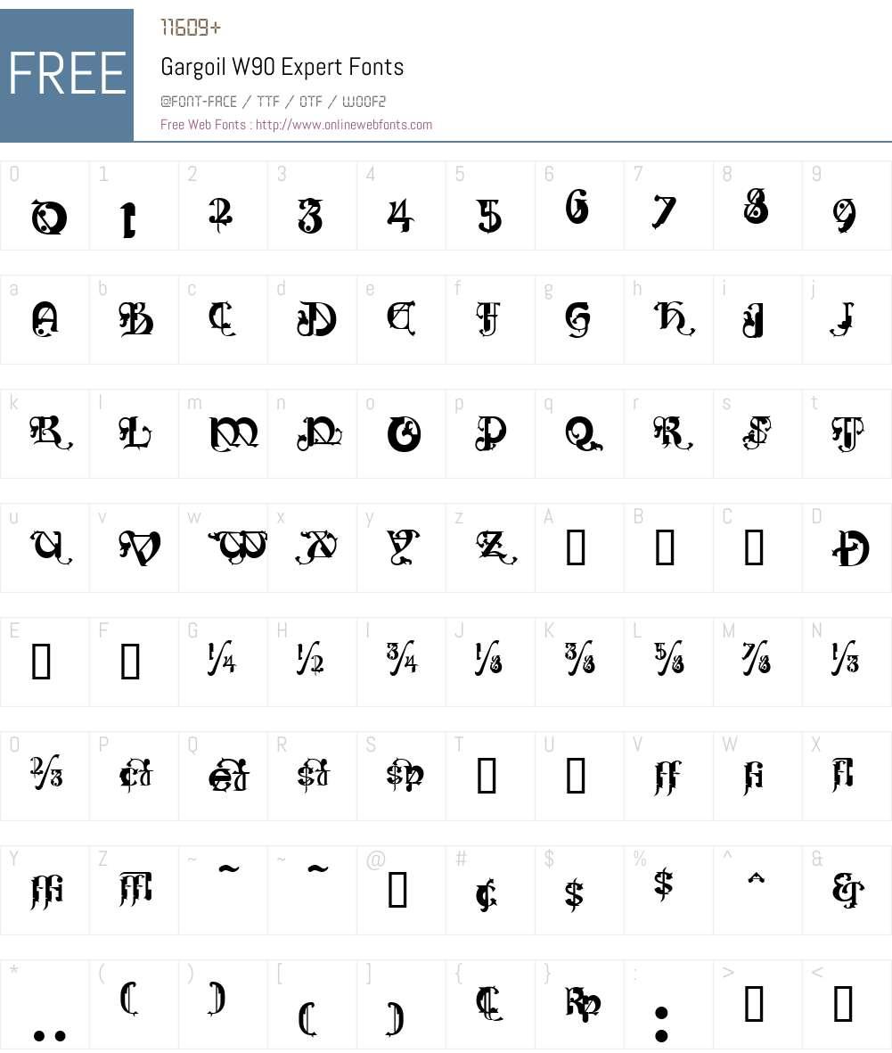 GargoilW90-Expert Font Screenshots