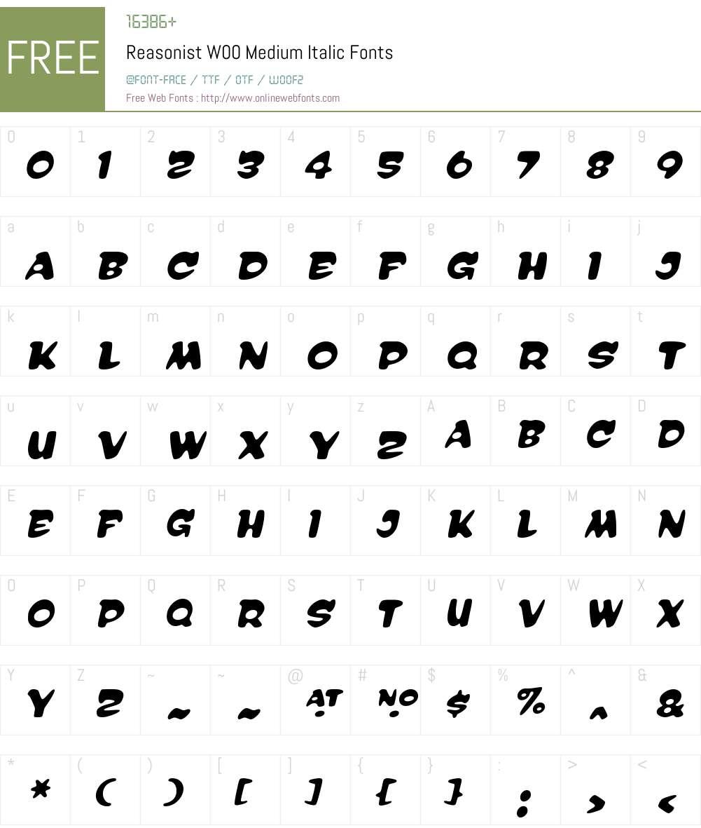ReasonistW00-MediumItalic Font Screenshots