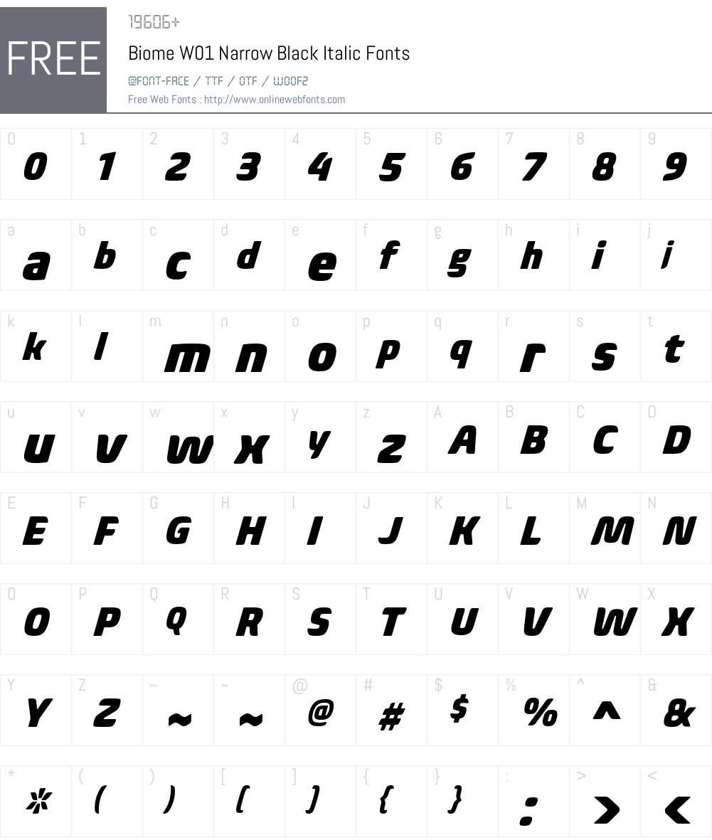 BiomeW01-NarrowBlackItalic Font Screenshots