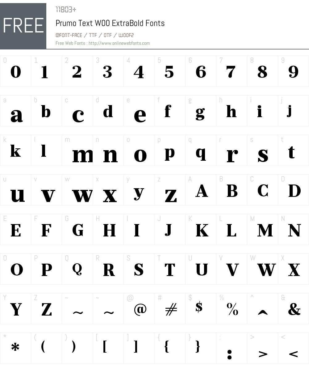 PrumoTextW00-ExtraBold Font Screenshots