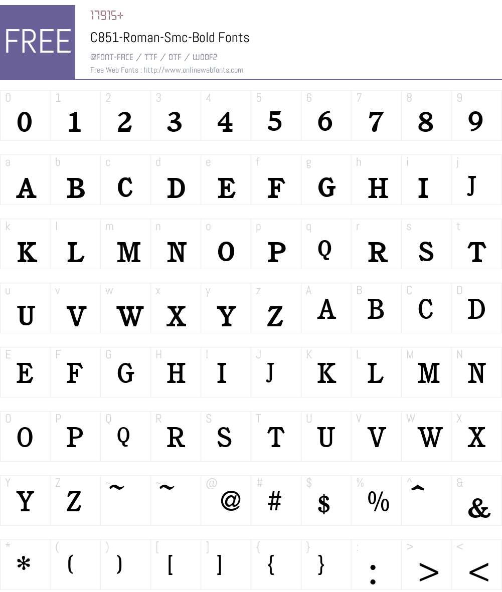 C851-Roman-Smc Font Screenshots