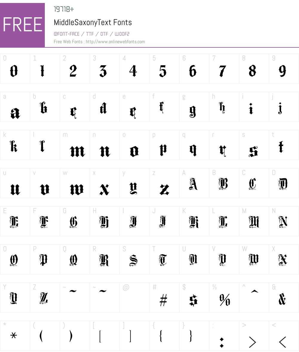 MiddleSaxonyText Font Screenshots