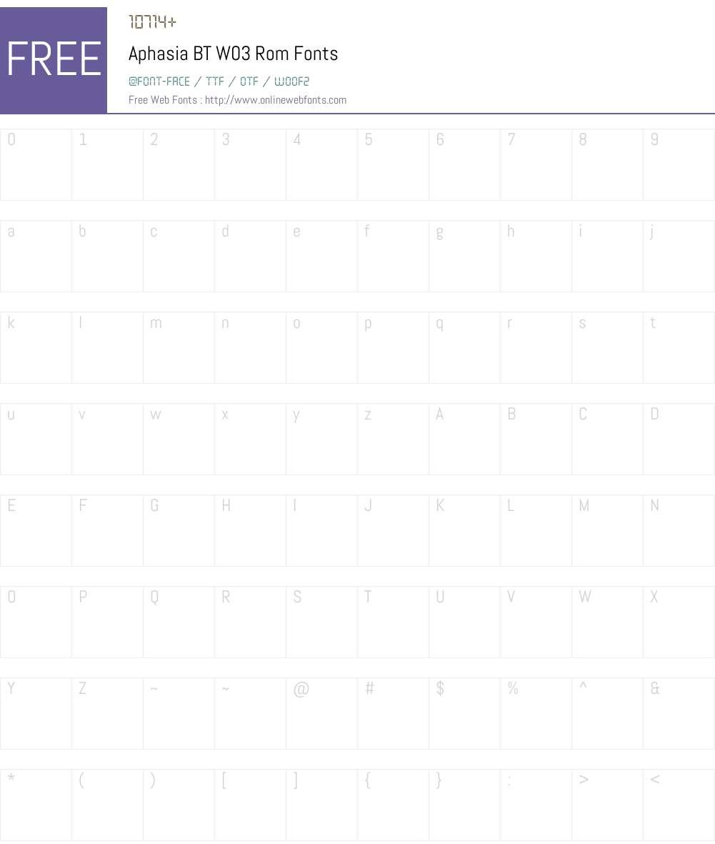 Aphasia BT Font Screenshots
