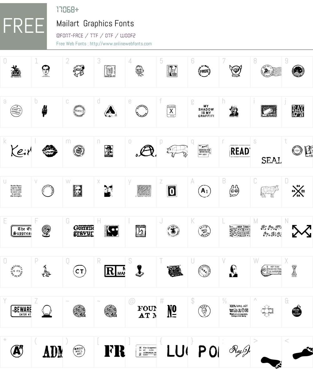 Mailart Font Screenshots