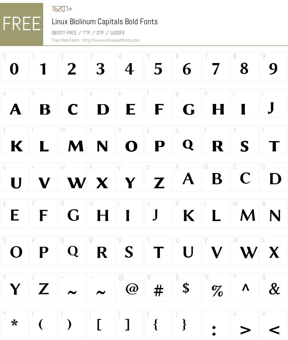 Linux Biolinum Capitals Font Screenshots