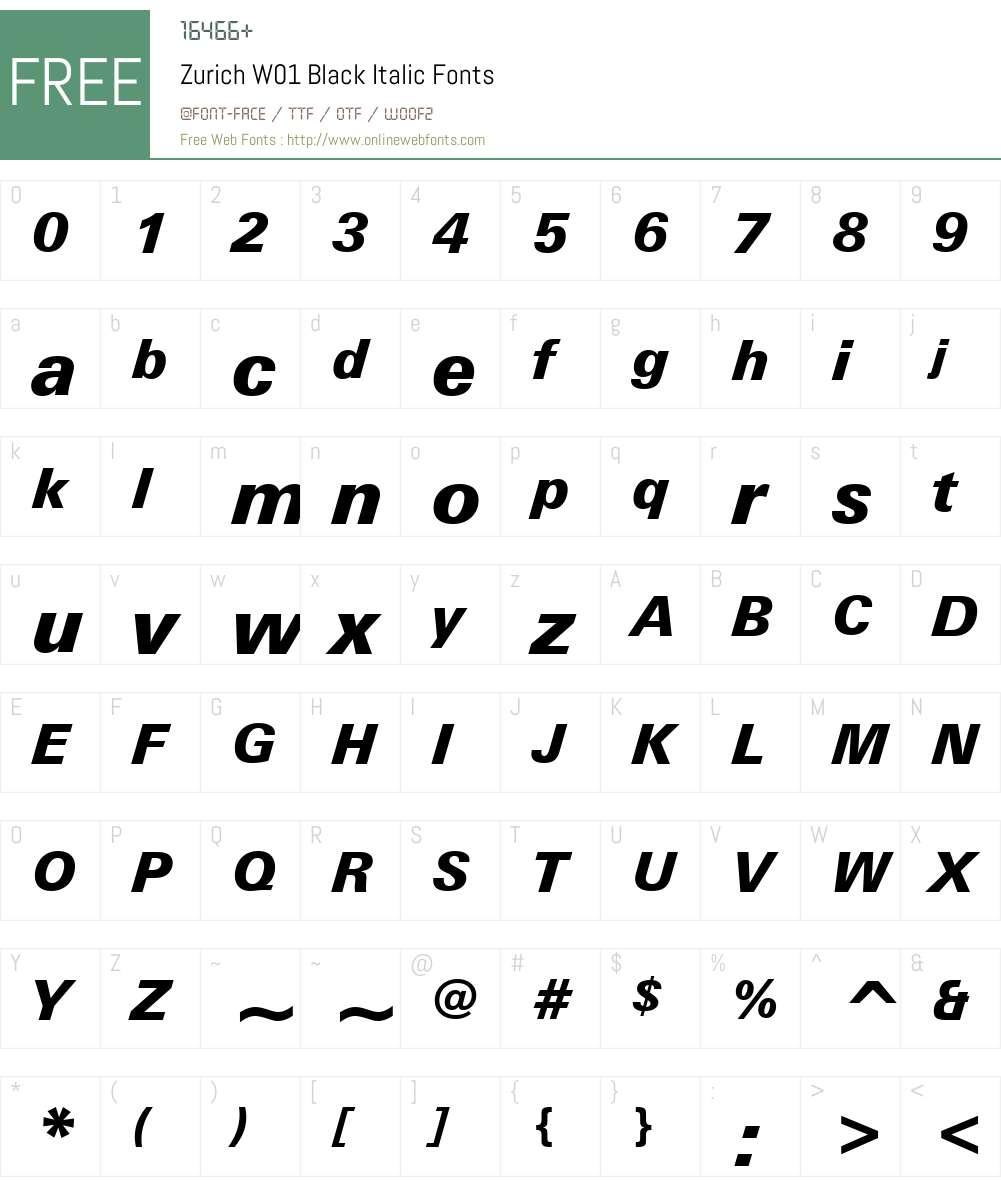ZurichW01-BlackItalic Font Screenshots