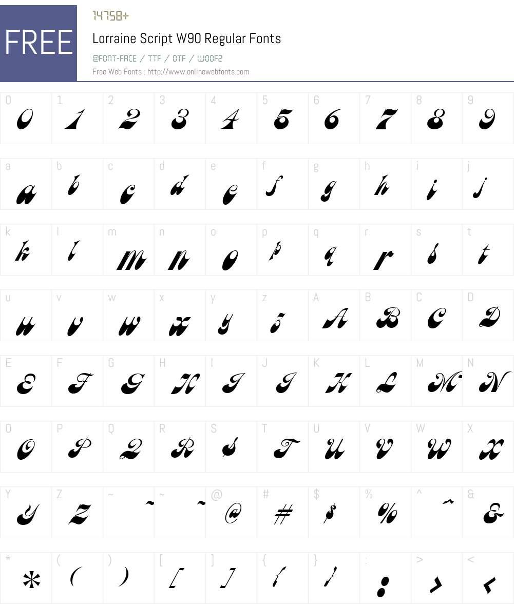 LorraineScriptW90-Regular Font Screenshots