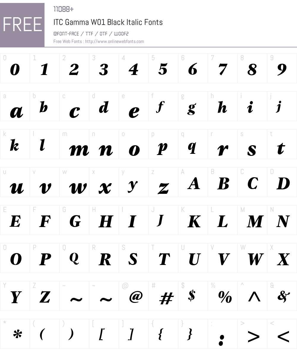 ITCGammaW01-BlackItalic Font Screenshots