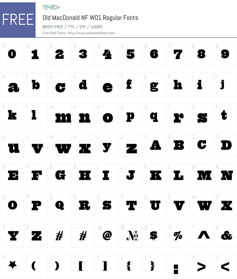 OldMacDonaldNFW01-Regular Font Screenshots