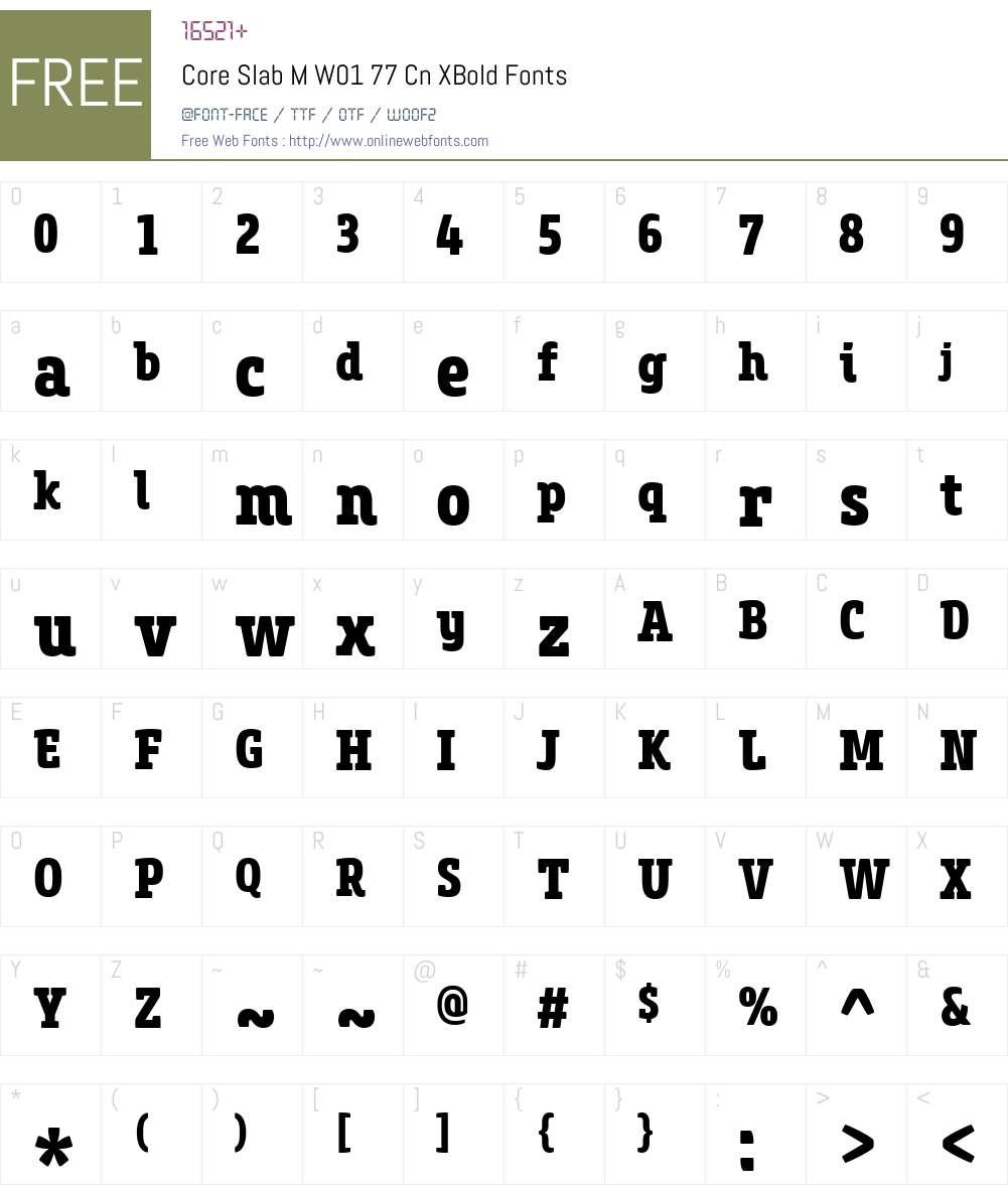 CoreSlabMW01-77CnXBold Font Screenshots