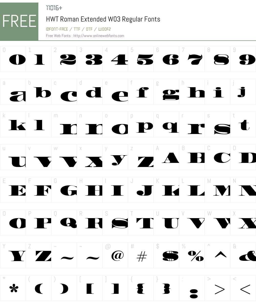 HWT Roman Font Screenshots