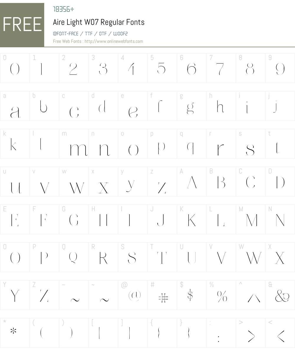 AireLightW07-Regular Font Screenshots