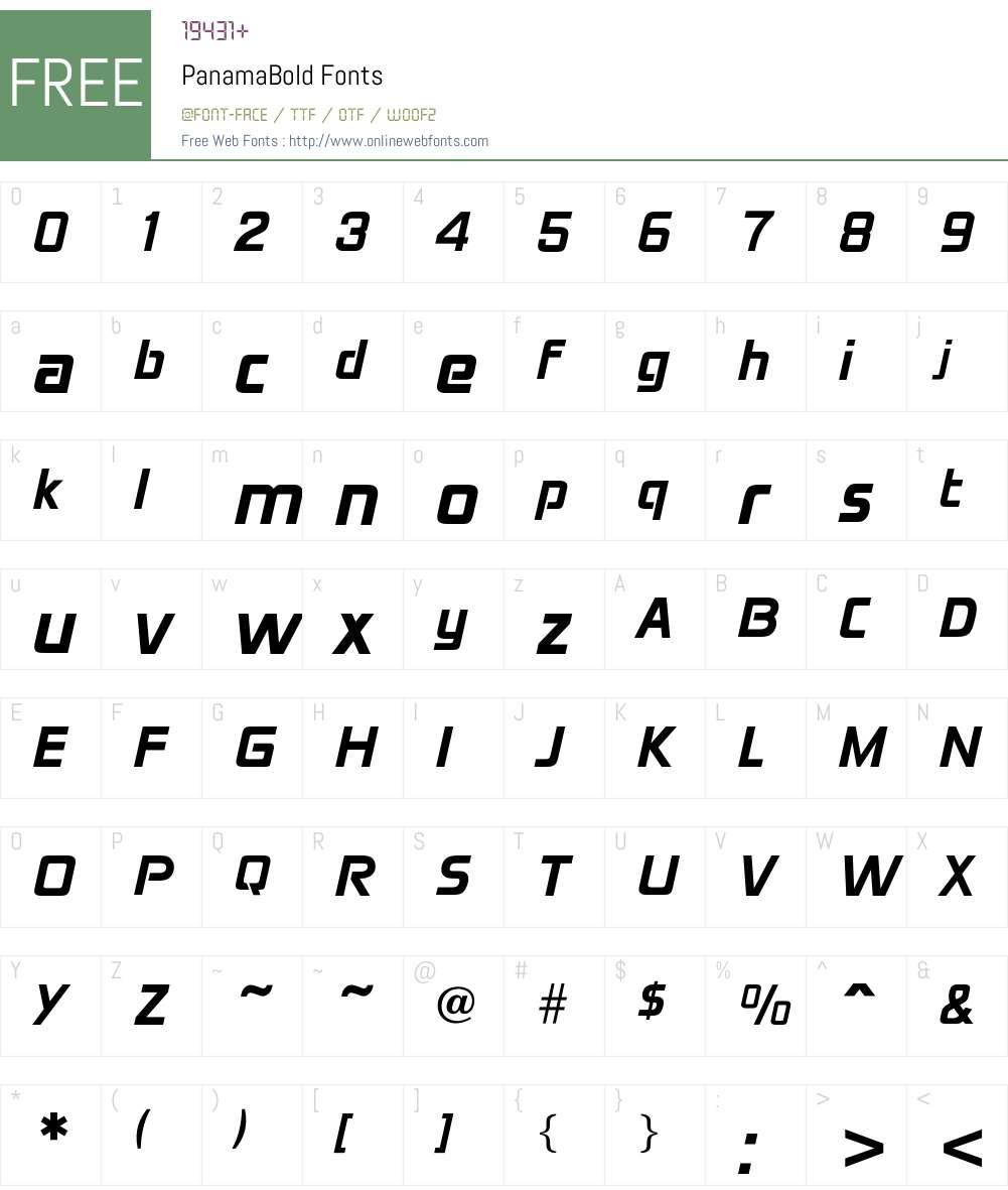 PanamaBold Font Screenshots