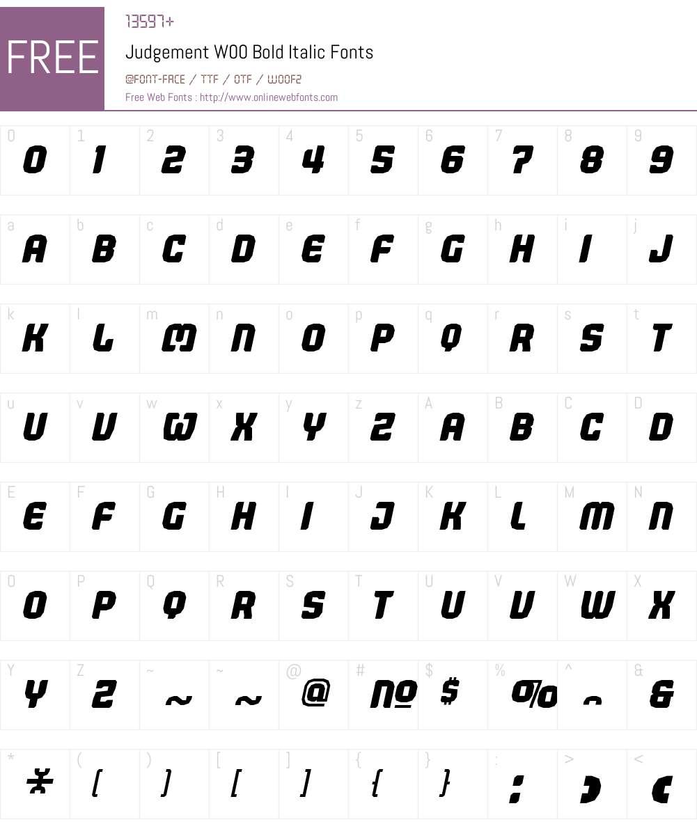 JudgementW00-BoldItalic Font Screenshots