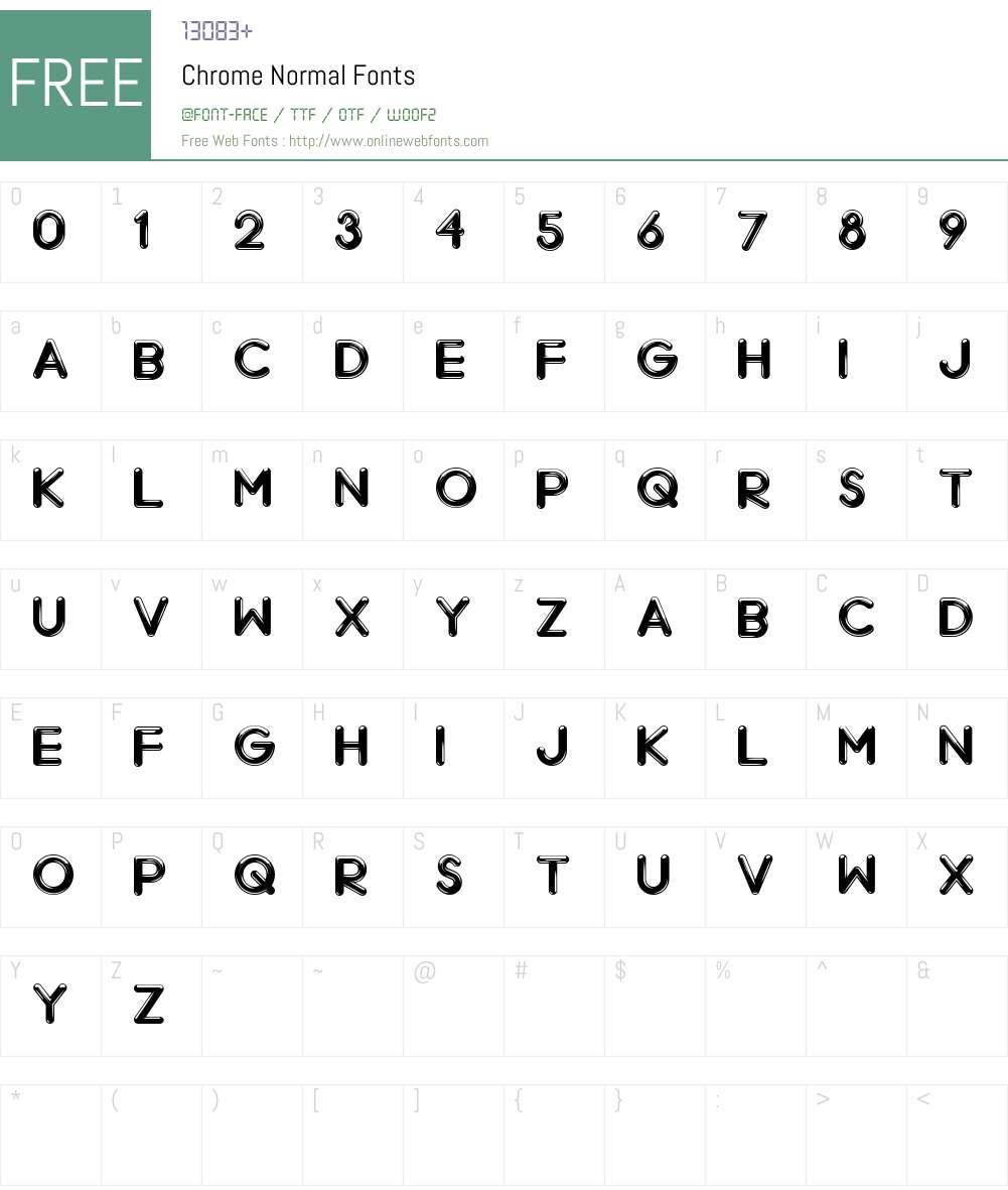 Chrome Font Screenshots