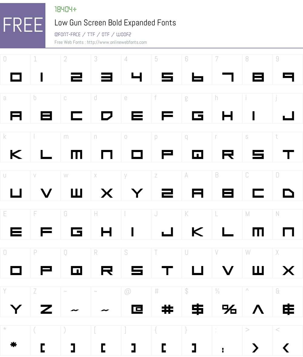 Low Gun Screen Bold Expanded Font Screenshots