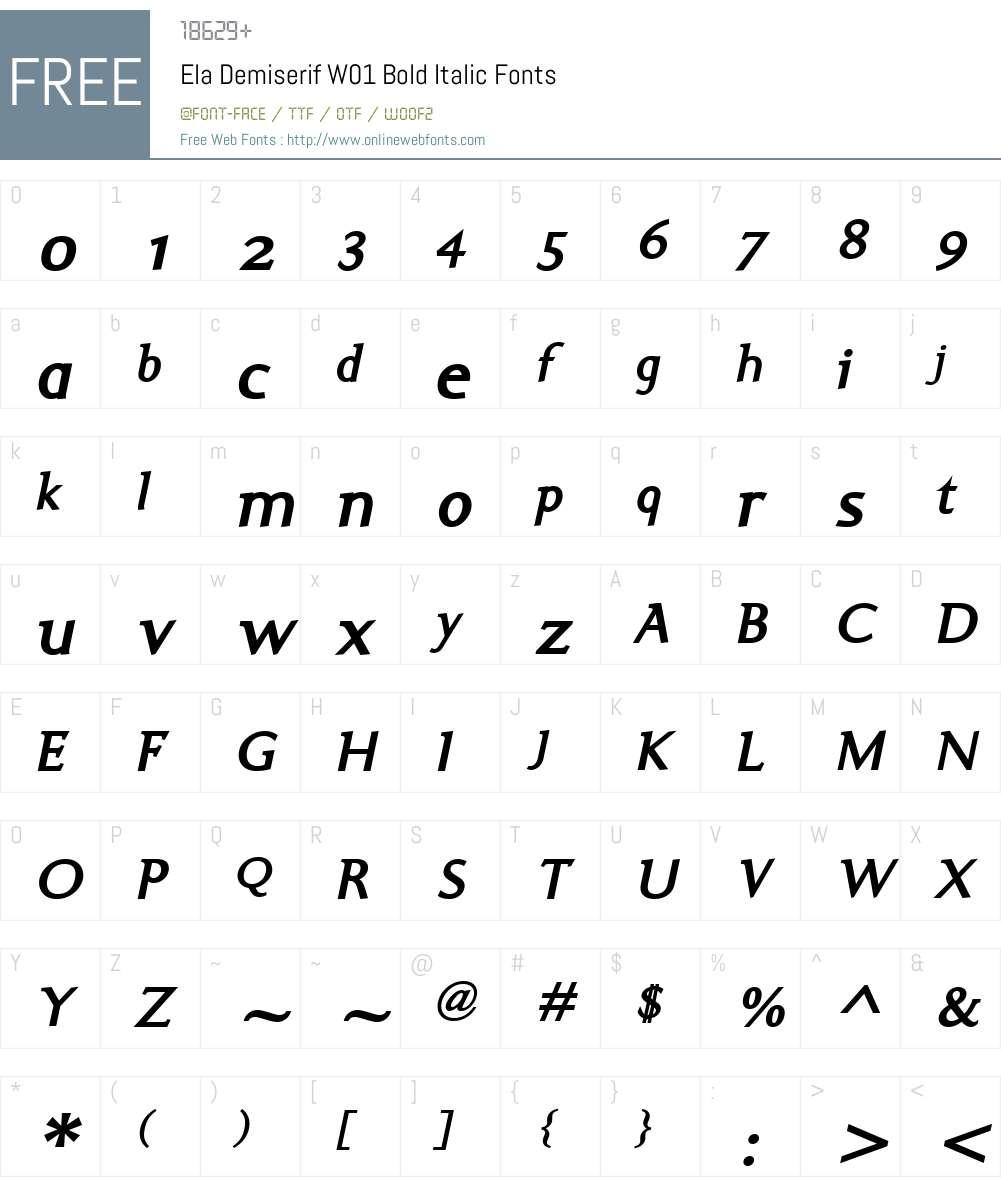 ElaDemiserifW01-BoldItalic Font Screenshots