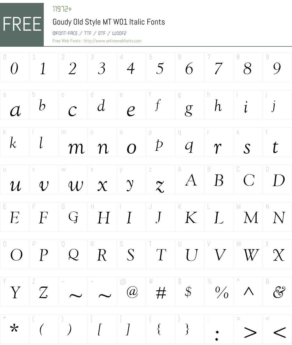 GoudyOldStyleMTW01-Italic Font Screenshots